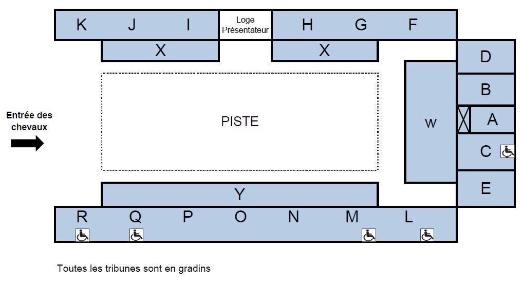 Plan de salle Présentations publiques du Cadre noir