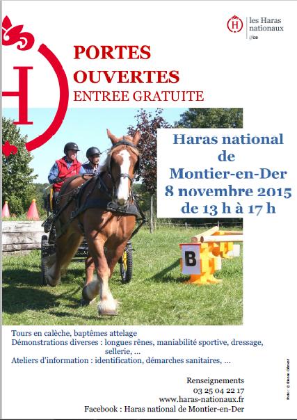 Affiche de la journée portes ouvertes au Haras national de Montier en Der