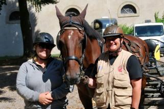 Marie-Pierre Defontaine, son cheval et Diane Delmas
