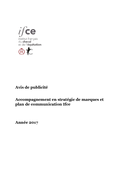 Dpt de la communication (75) - Accompagnement en stratégie de marques et plan de communication ifce 13/04/2017
