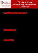 Observatoire des anomalies génétiques- Lettre 1