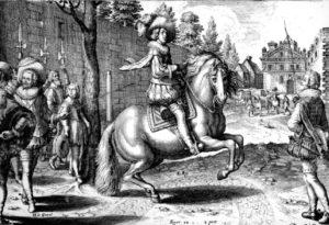 M. de Pluvinel instruisant le futur roi Louis XIII avec le cheval Barbe Le Bonite