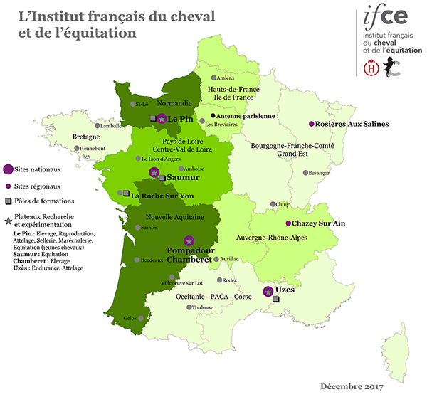 Carte de France des sites de l'Ifce en 2017