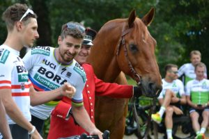 Cycliste Peter Sagan à coté cheval Ifce