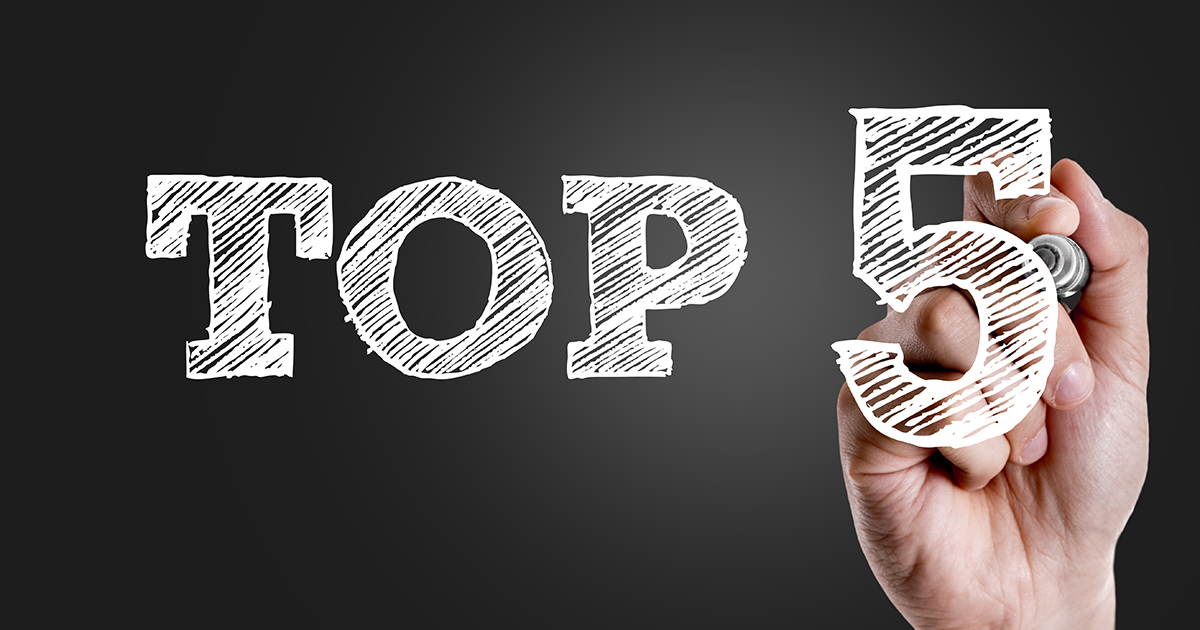 Hand writing the text: Top 5